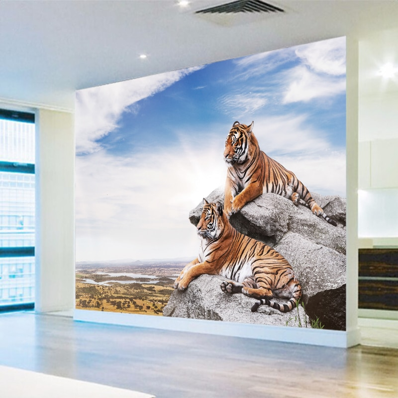 Mural personalizado papel tapiz de tigre HD de estilo europeo papel tapiz de lona sofá TV Fondo PVC póster Sala dormitorio decoración del hogar