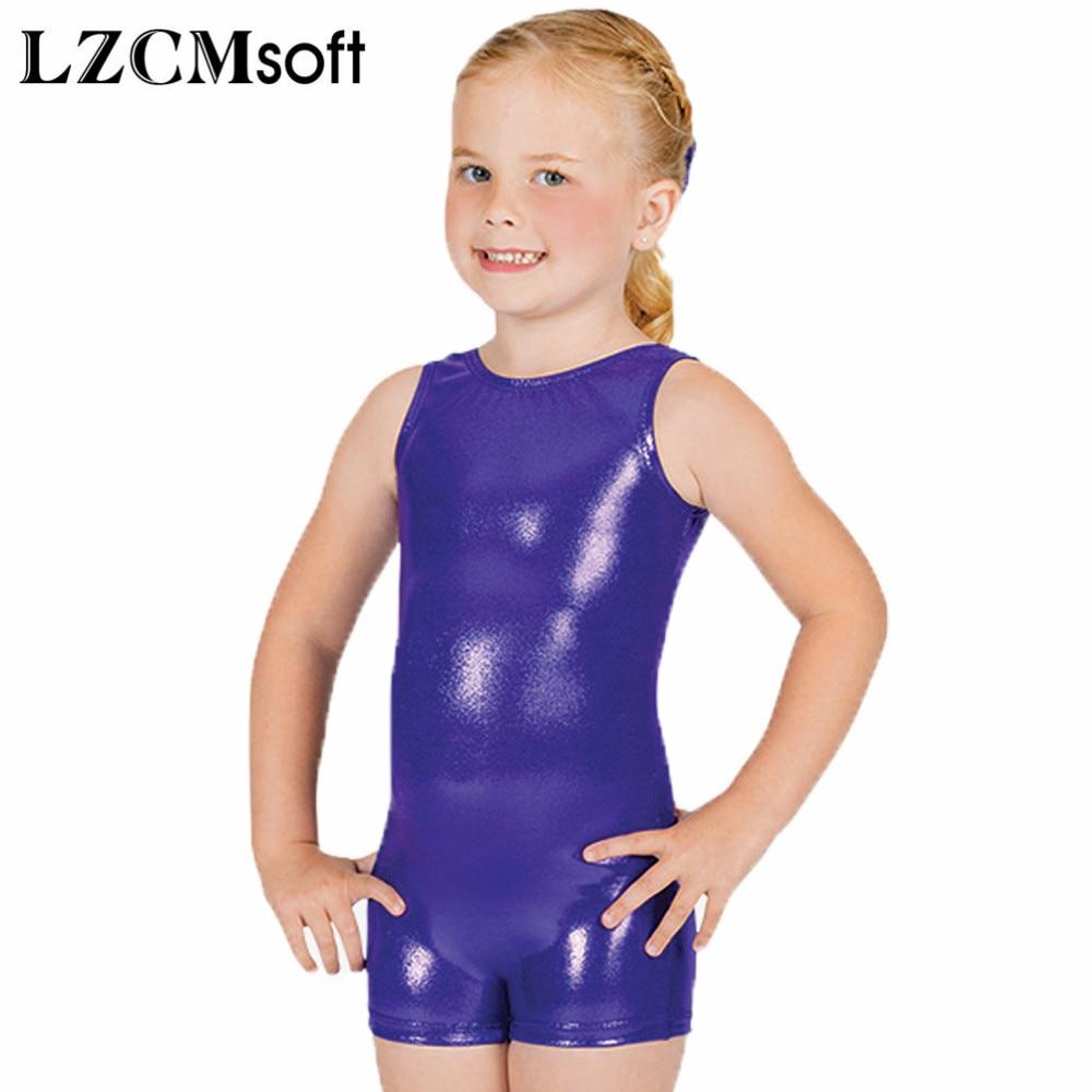LZCMsoft Kids Tank Dance Unitards Metallic Shiny Wet Look Biketards Toddler Stage Performance Costum