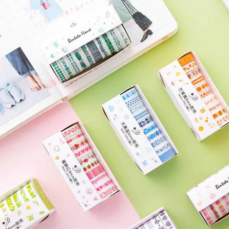 10 Bloemen Washi Tape Washy Tapes Ruban Adhesif Decoratif Kawaii Sakura Plain Papeleria Scrapbook Cinta Adesiva Decorativa