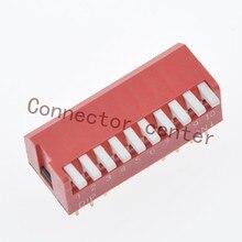 Interrupteur DIP Type Piano actionnement latéral   Haute qualité 2.54mm pas plaqué or 10 positions 20Pin, télécommande rouge