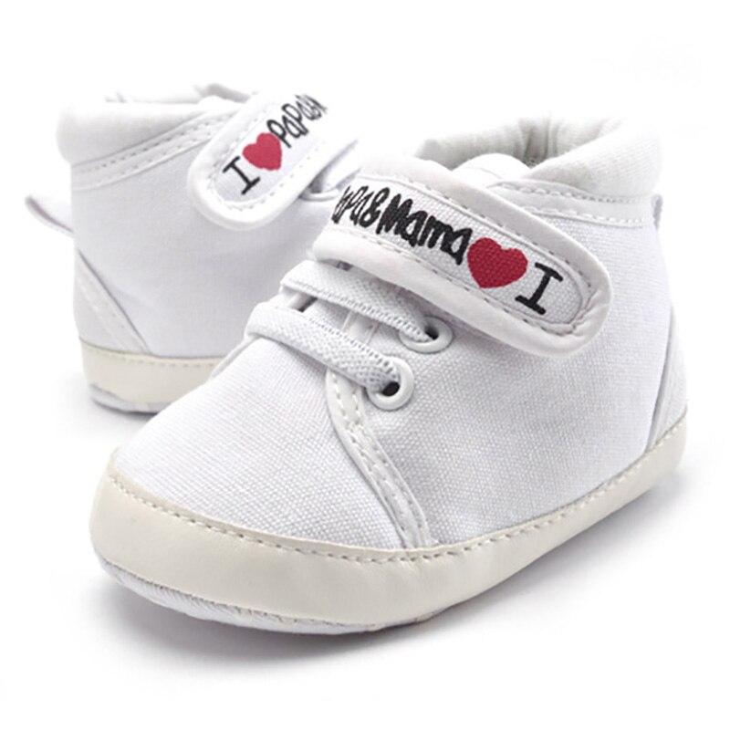 0-18 m bebê mocassins infantil da criança do bebê meninos meninas imprimir carta amor papa & mama sola macia tênis de lona anti-deslizamento sapatos recém-nascidos