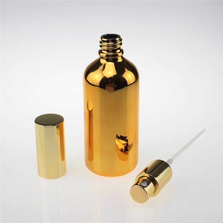 shipping to Qatar 200PCS fine mist golden 100ml glass spray bottle, 100 ml gold color glass spray bottle for essential oils