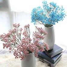 Fleur Gypsophila artificielle bleu/rose/jaune   Fausse plante florale en soie pour bébé, produits décoratifs pour fête mariage à domicile