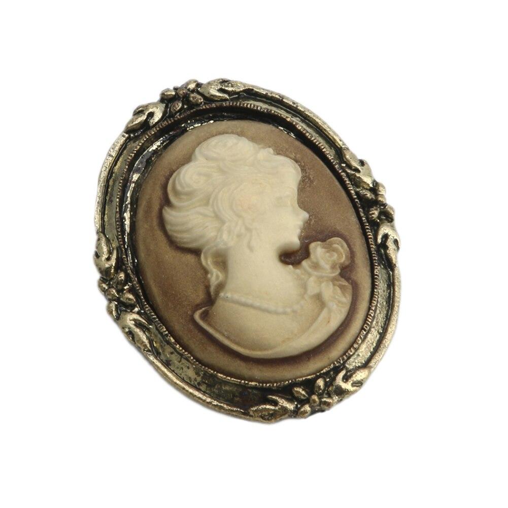 Pendientes venta al por mayor 1pc reina señora vintage, victoriano Cameo diseño esmalte negro bronce broche Pin APR28