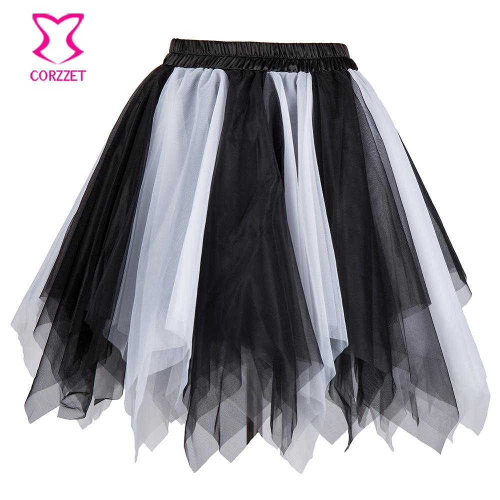 Black White Layered Asymmetrical Mesh Tutu Skirt Women Adult Sexy Club Dancer Wear Skirts Womens Burlesque Costume Petticoat