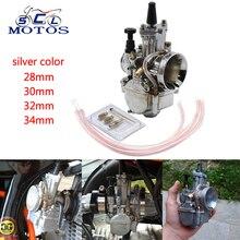 Sclmotos -28 30 32 34mm argent PWK moto carburateur Carb puissance Jet Motocross Scooter ajustement 75CC à 250CC moteur pour Honda KTM