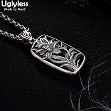 Uglyless 100% véritable solide 990 Thai argent orchidée herbe pendentifs colliers pas de chaînes à la main creux carré pendentif bijoux fins