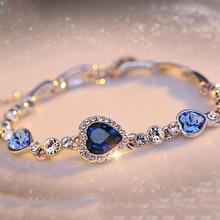 Famshin Heetste Womens Dames Crystal Rhinestone Bangle Ocean Blue Armband Ketting Hart Sieraden Party Geschenken