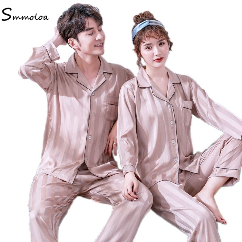 Smmoloa Satin Silk Pajamas Set Long Sleeve Stripe Couple Sleepwear Family Homewear