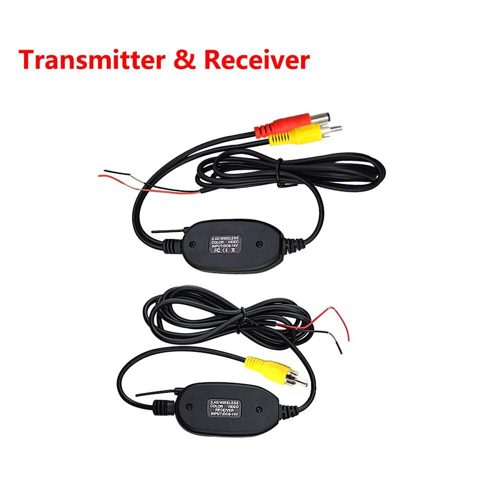 Transmissor e receptor rca automotivo 2.4 ghz, kit transmissor e receptor de vídeo do retrovisor sem fio para carros