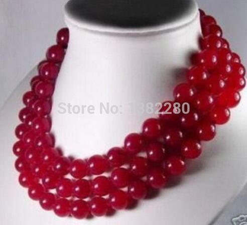 """Venta de joyas> ¡venta al por mayor! collar largo de Calcedonia roja de 10mm collar de 50 """"DIY piedra para mujer diseño de joyería de moda"""