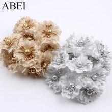 12pcs/lot Artificial Golden Silver Glitter Silk Fabri flower bouquet for Wedding Decoration Scrapbook DIY Craft Fake flowers