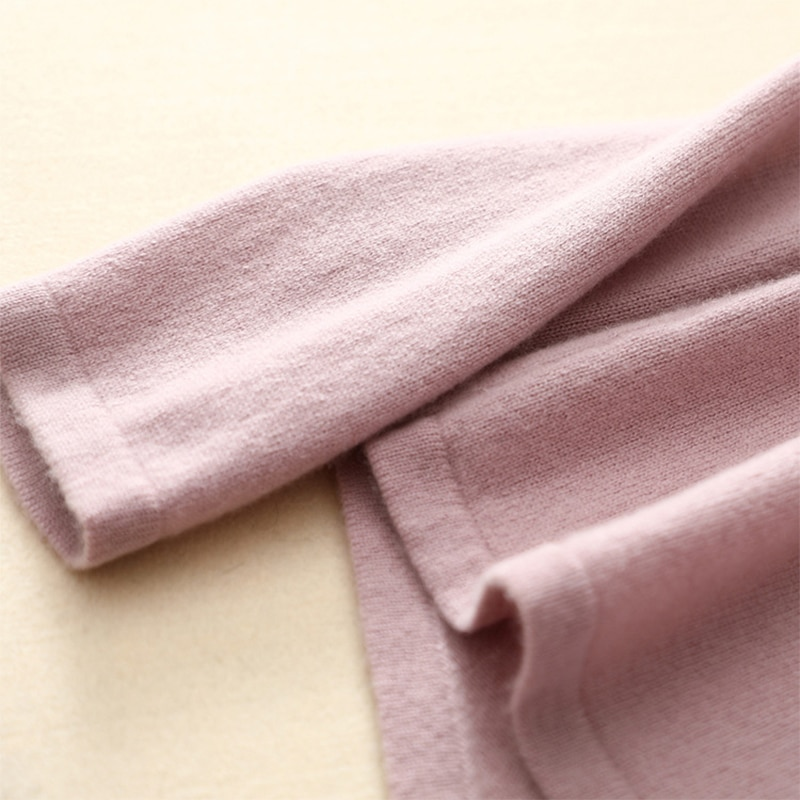 Shuchan 100% Cashmere Sweater Women Pullover Knitted 2018 Autumn Winter Turn-down Collar Casual Pink Sweaters Jumpers Female enlarge