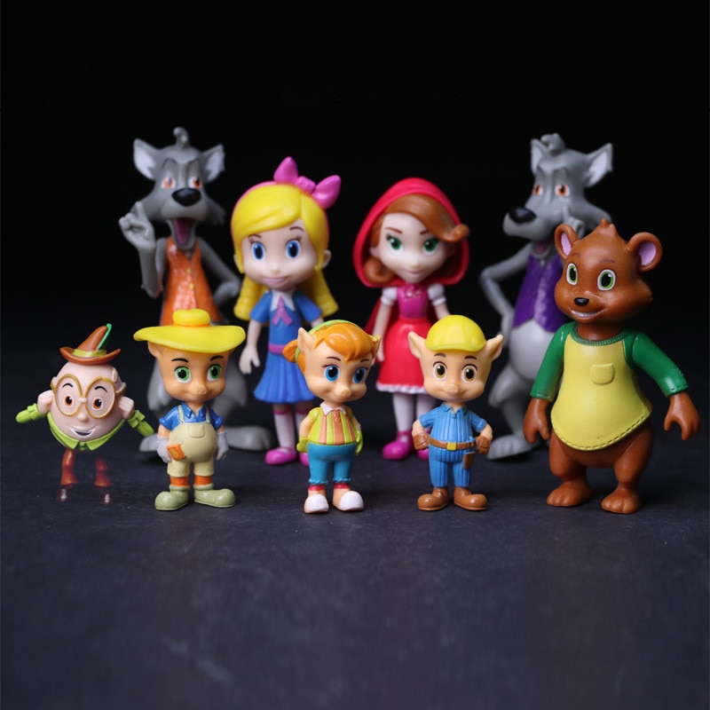 Goldie Locks 9 pçs/lote Goldie e Urso de Brinquedo Figura Jack Urso Vermelho Big Bad Wolf Modelo Estatueta Boneca para As Crianças