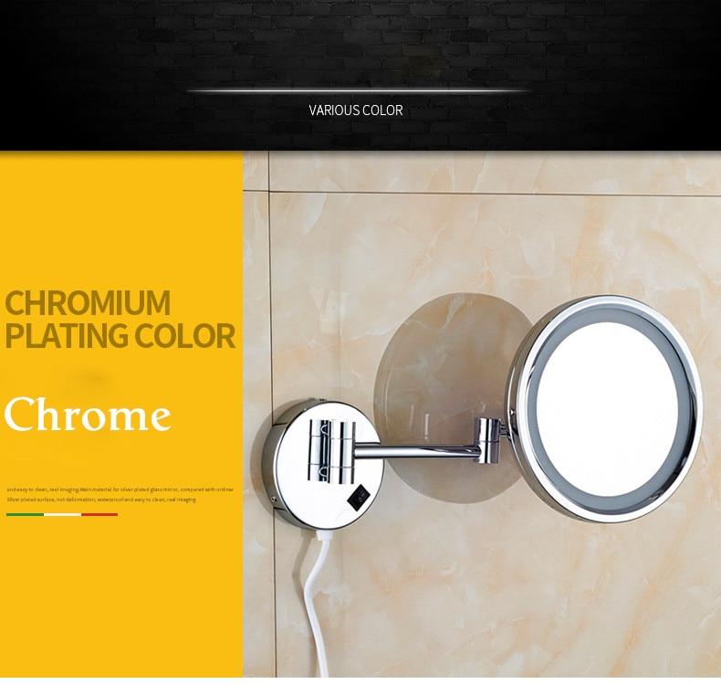 Senducs Chrome Led Bathroom Mirror With High Quality Brass Bath Mirrors 8.5 Inch Beauty Mirror 3x Magnifying Bathroom Mirrors