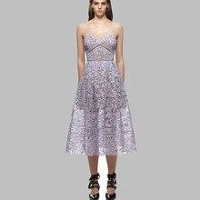 Женское подиумное платье макси, кружевное длинное платье без рукавов с v-образным вырезом, летнее платье для автопортрета, 2019