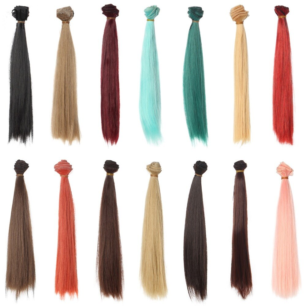 Парики для кукол, термостойкие, 25 см * 100 см, bjd, синие, красные, коричневые, зеленые, прямые, толстые волосы для 1/3, 1/4, BJD, сделай сам