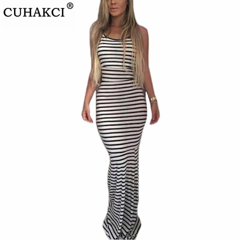 CUHAKCI Striped Dresses Women Backless Black White Beach Summer Long Evening Party Dress Strap Plus Size 4XL Sexy Maxi Dress