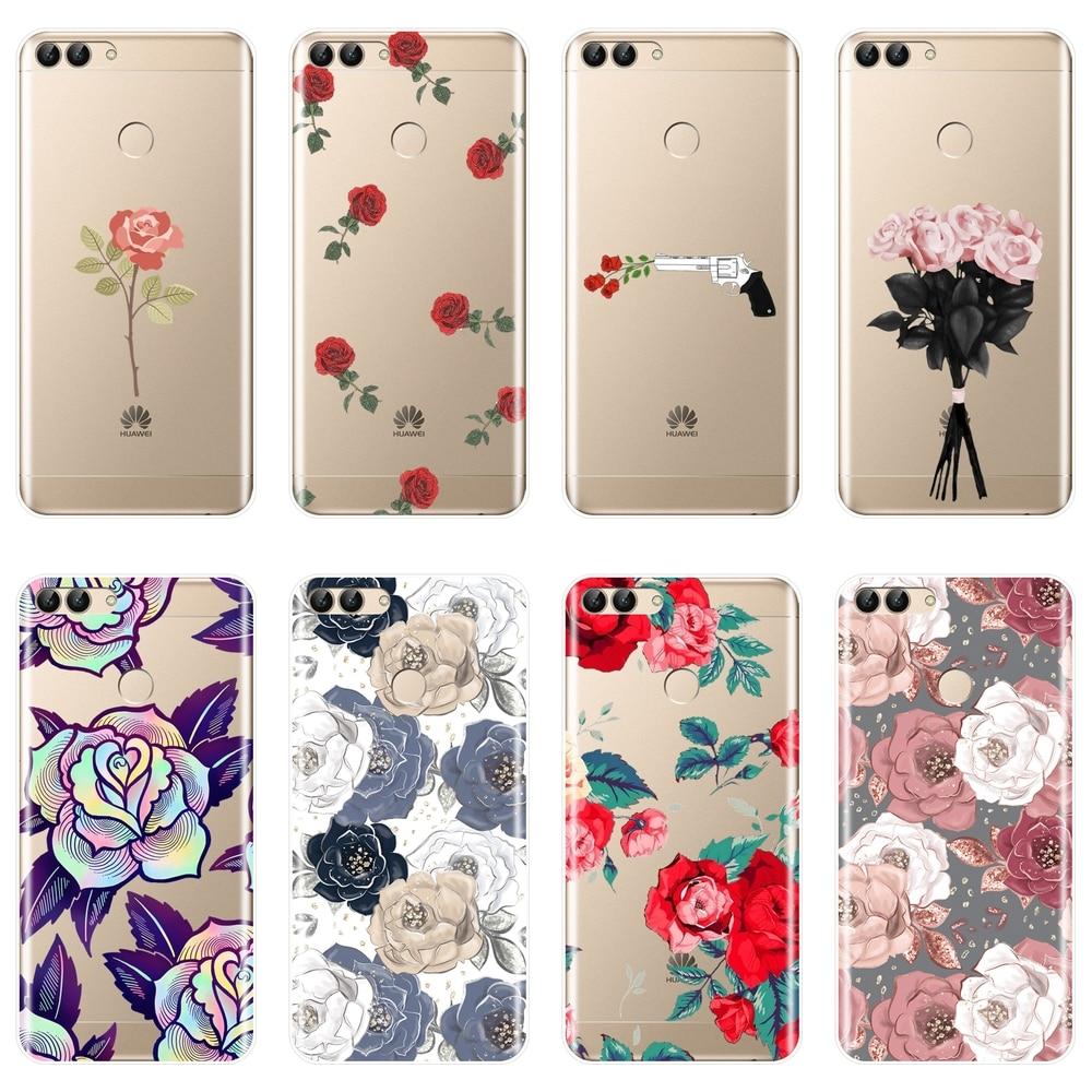 Macio silicone caso de telefone para huawei p20 lite pro p9 p10 plus p inteligente rosa flor volta capa para huawei p7 p8 p9 lite mini 2017