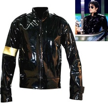Punk MJ Michael Jackson Zwart Militaire Cool Lederen Jasje voor Collection Halloween Supprise Gift