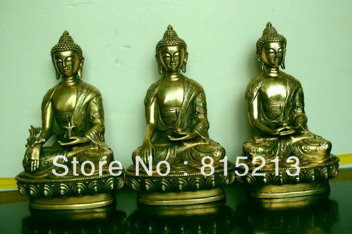 Wang 000144 Medicina Tibetana Buddhis Shakyamuni Amitabha bronce 3 estatuas de buda