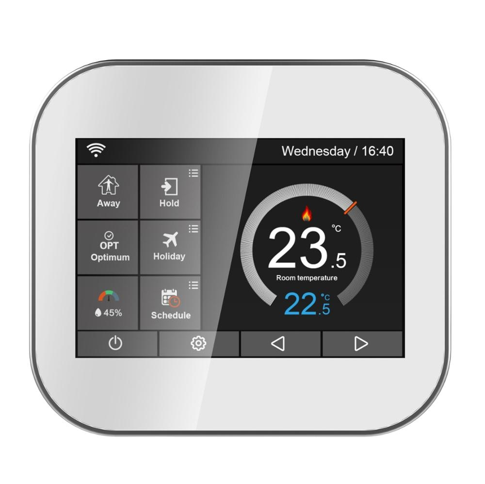 Wifi touch thermostat for water heating/radiator valve by English/German/Polish/Russian/Italian/Spainish control by smart phone