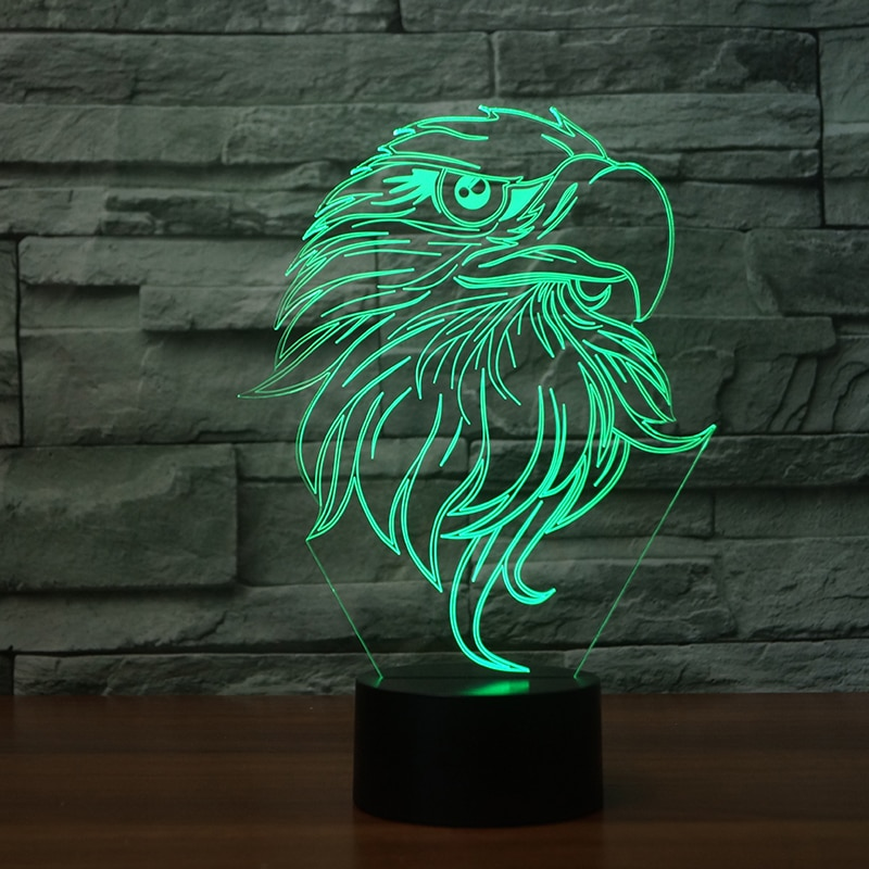 Lámpara LED 3D USB con diseño de águila para escritorio de acrílico, lámpara Visual de 7 colores con degradado, luz nocturna, botón táctil, regalo para decoración del hogar