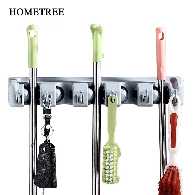 HOMETREE 1PC 5 Holes Mop Hanger 6 Hook Rack Kitchen Utensils Bathroom Umbrella Balcony Wall Hanger Organizer Storage Rack H694