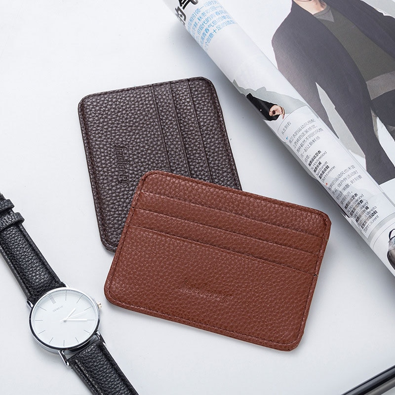 Simple hombre mujer tarjeta de crédito titular de cuero material tarjeta de Banco Protector de tarjeta de identificación titular de la licencia de conducir bolsa de pasaporte cartera C149