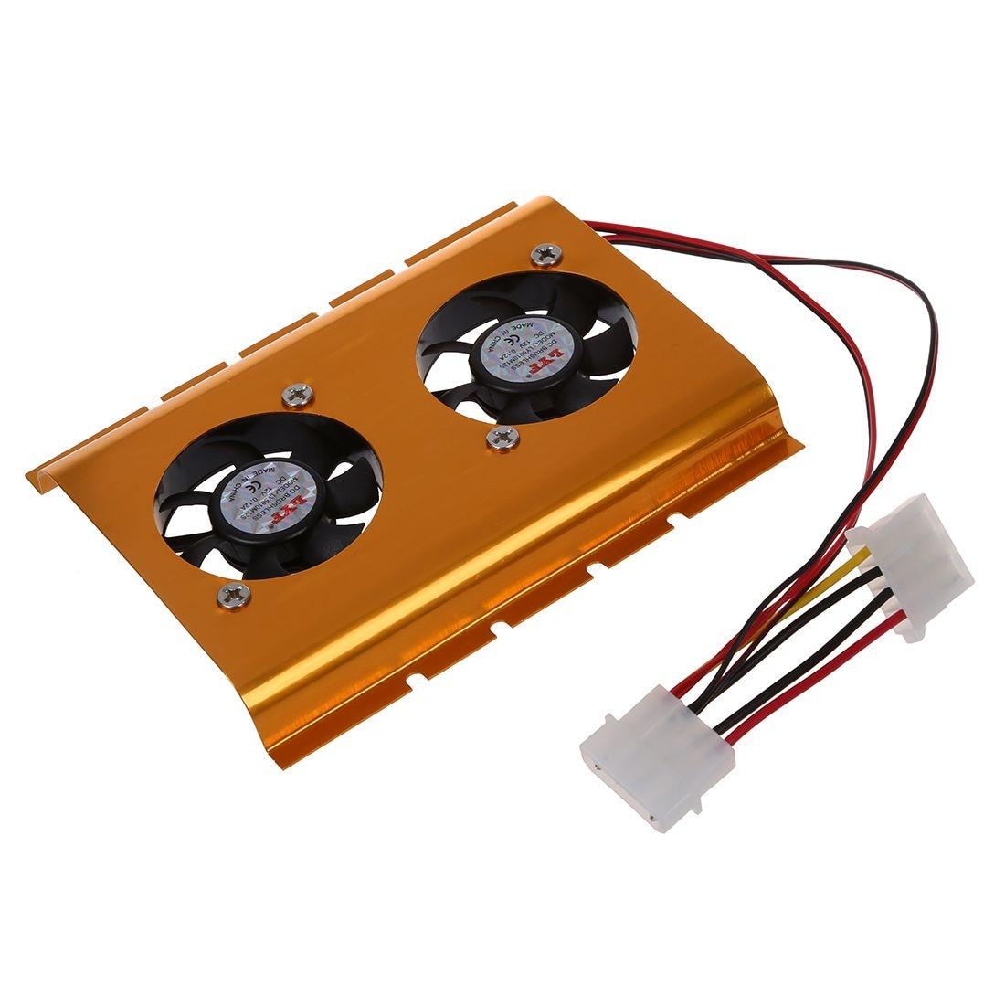 """Unidad de disco duro de 3,5 """", ventilador Dual, enfriador, tono dorado para PC de escritorio"""