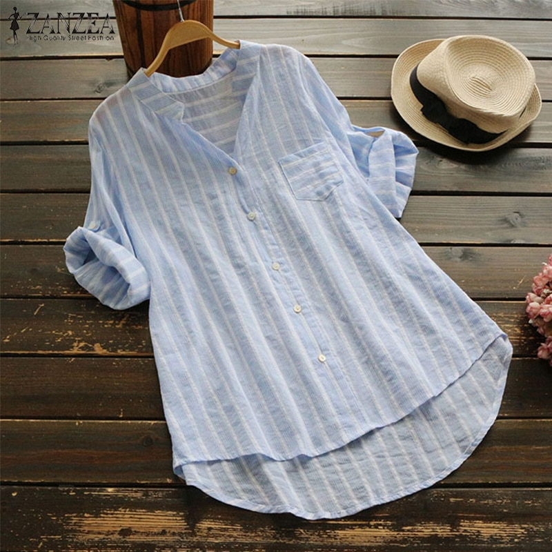ZANZEA Women's 3/4 Sleeve Cotton Linen Striped Blouse 2020 Autumn Female Casual Shirt Work Blusa Ladies Sexy V Neck Vestdios Top