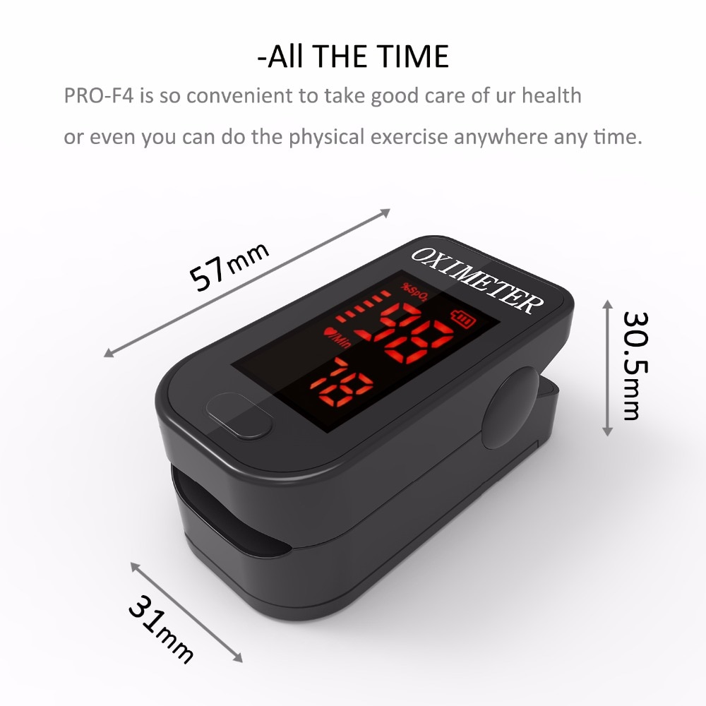 Household Health Monitors Oximeter CE Medical Heart Rate Monitor LED Fingertip Pulse Oximeter Finger Blood Oxygen-Cool Black