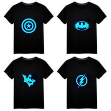 Marvel Batman The Flash Printed Luminous T-shirt Casual Unisex Tops Vest Tees Short sleeve Men T-shirt Children Cotton T Shirt