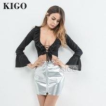 KIGO femmes métallique argent cuir Jupe Zipper taille haute PU cuir Sexy fête Mini Jupe haute rue Jupe Cranon KH1464H