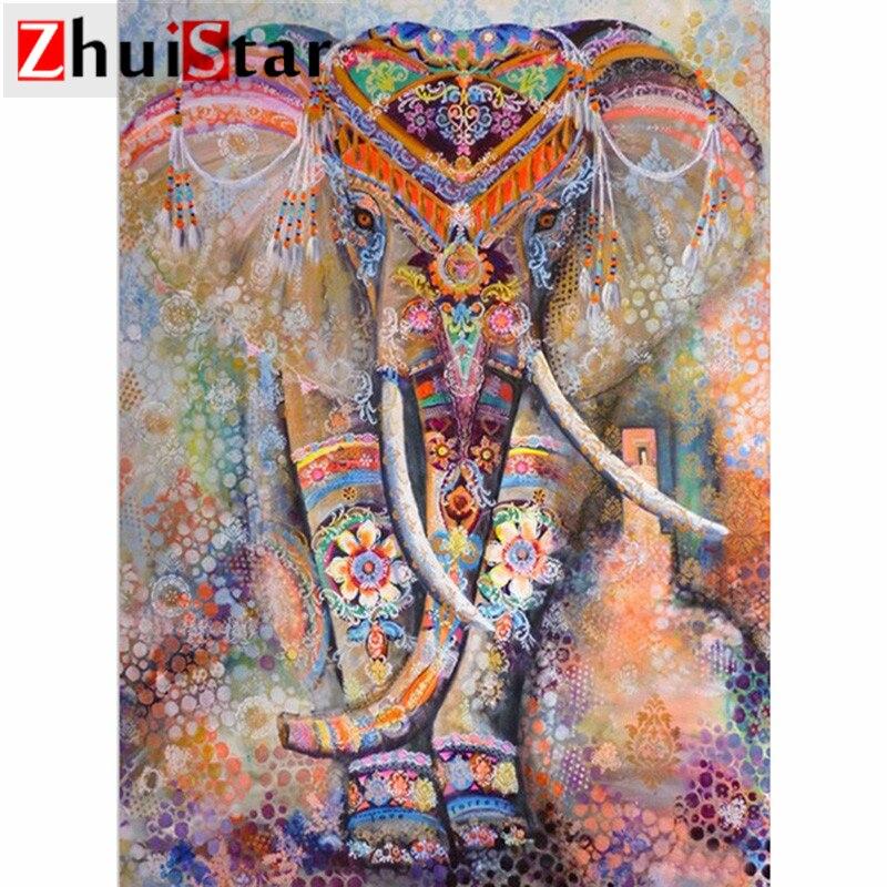 5d diamant malerei voll platz/runde diamant stickerei painted elephant strass DIY mosaik hause dekoration drop verschiffen