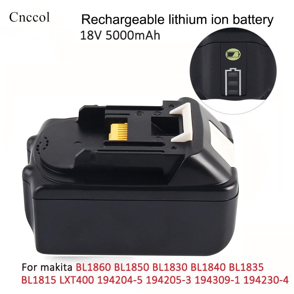 18 V 5000/6000 mAh con indicador LED Li-Ion batería para Makita batería de 18 V 5.0ah BL1860 BL1850 BL1830 CBL1840 194205-3 de herramienta de poder