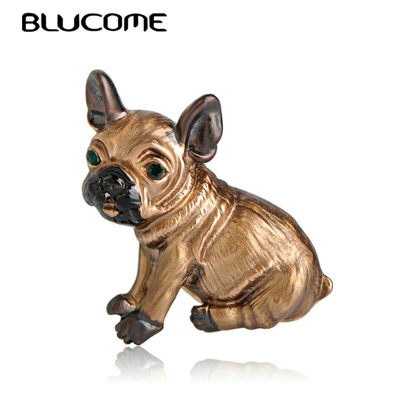 Blucome bonito pug cão broches olhos verdes animais corsage pinos crianças meninas camisa casaco clipes broches roupas acessórios jóias