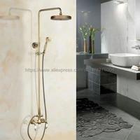 antique brass shower faucet set 7 7 inch shower head hand shower sprayer w hand shower wall mounted mixer tap nan104