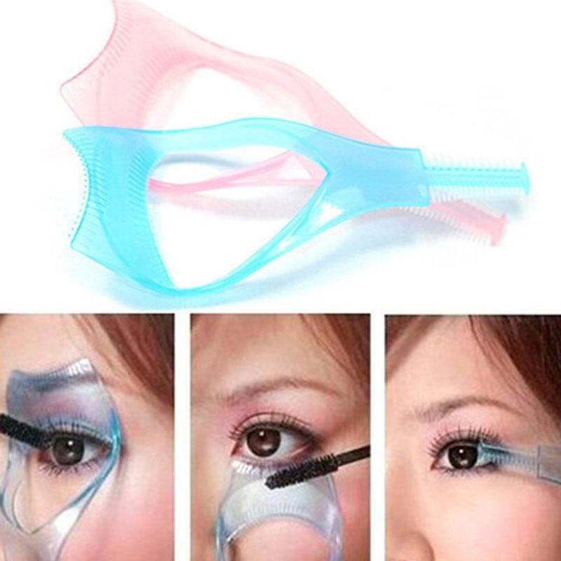 3 in 1 Mascara Eyelash Applicator Guide Card Comb Eyelash Curler Mascara Guide Applicator Lash Guard Eyelash Curling Comb