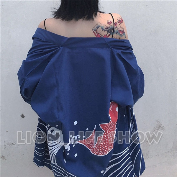 Verão matsuri japão 3/4 manga solta azul quimono yukata casaco outerwear