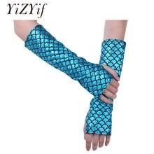 YiZYiF Women Mermaid Arm Sleeves Fish Scale Pattern Printed Fingerless Long Gloves Arm Sleeves Adult Halloween Costume Accessory