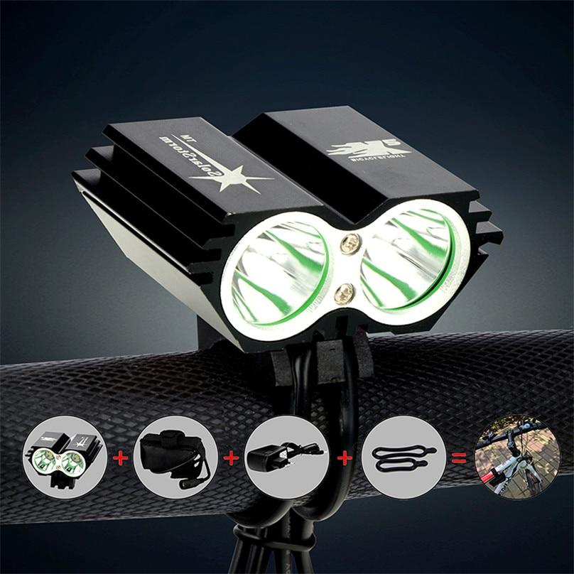 Impermeable 5000 Lumen 2X XM-L U2 LED bicicleta luz delantera de la bicicleta luz de Flash Luz de cabeza de bicicleta lámpara + Paquete de batería + cargador