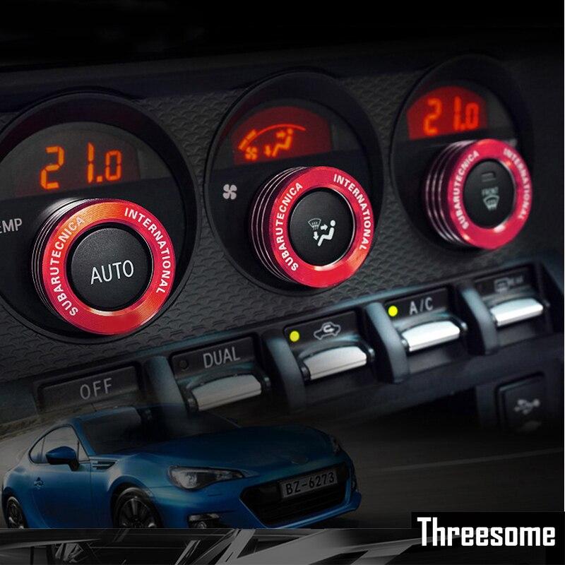 SRXTZM para Subaru BRZ Toyota 86 AC cubre perillas de Stereo BMW Interior STI TRD decoraciones acondicionador de aire coche interruptor mando anillos