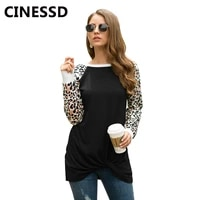 cinessd leopard print blouse women black o neck long sleeve pullover casual tops knotted tunic loose 2019 autumn soft tee shirts