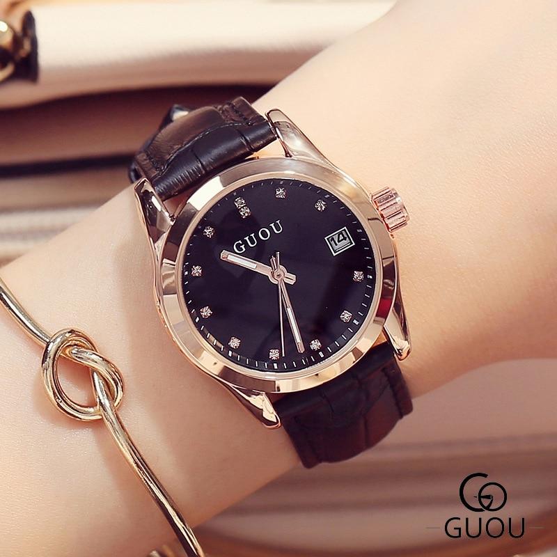 Reloj mujer GUOU Fashion Golden Lady Watch Women Leather Wrist Watches Diamond Gold Clock Saat Relogio Feminino bayan kol saati enlarge
