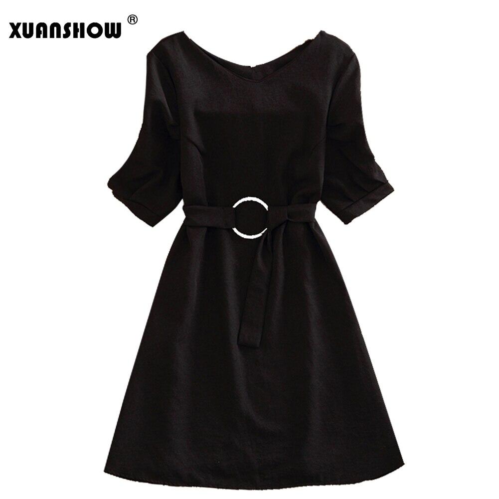 XUSNSHOW V Neck Summer Dress Women 2018 Short Sleeve Sashes Solid Color Dress Robe Femme M-XXL