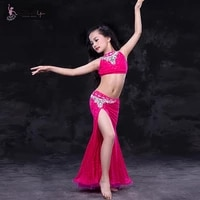 high quality girls belly dancing performance costumes sexy oriental dance for kids children 2 pcs openwork top mermaid skirt