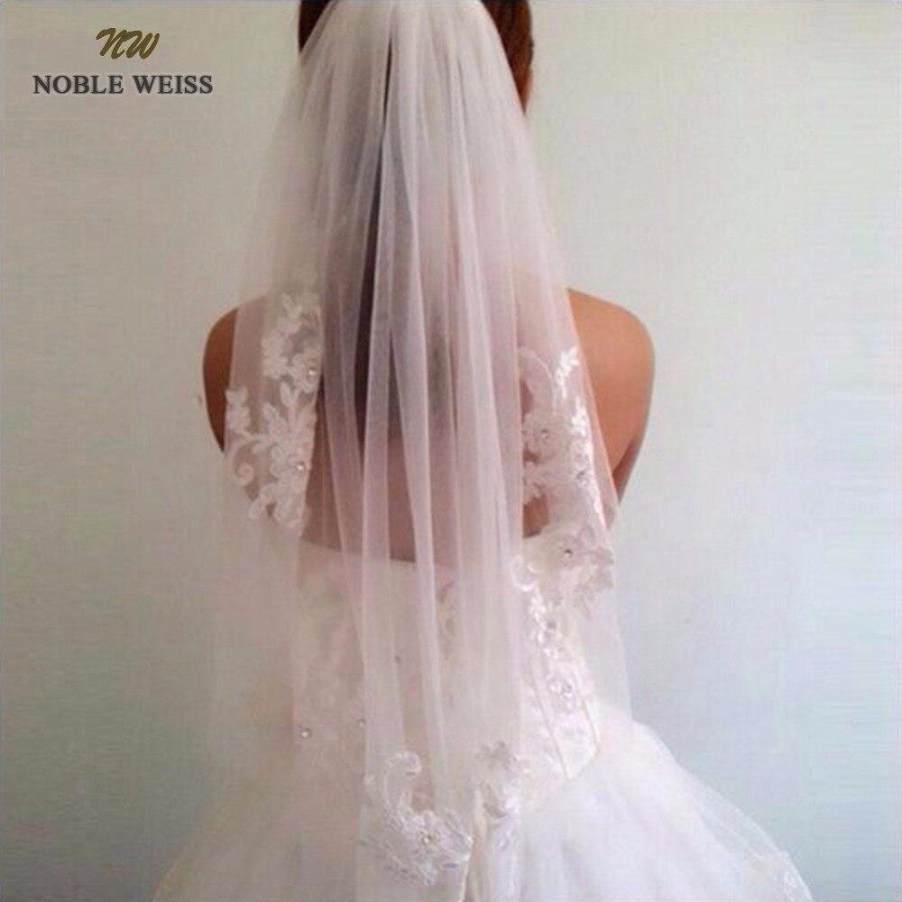 NOBLE WEISS en Stock corto de una capa de longitud de la cintura con cuentas diamante apliques blanco o marfil boda velos nupciales