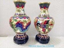Antiken sammlung der Chinesischen Cloisonné Carving Drachen und Phoenix vasen dekorative handwerk, größe optional.