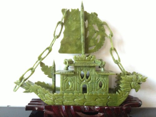 "100% Jade Natural chino tallado a mano dragón bote ""yi fan feng shun"""
